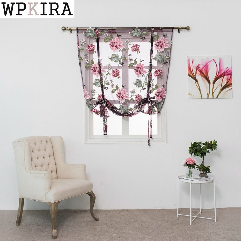 Kitchen short sheer burnout roman blinds curtains peony sheer panel tulle window treatment door curtains home decor 223&C
