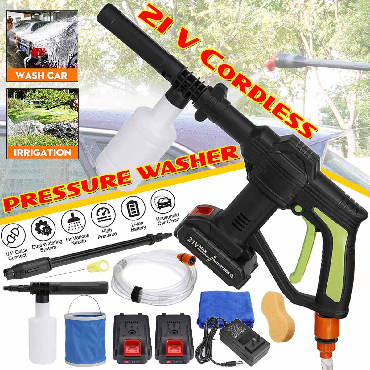 21V Portable Cordless Car Washer Machine High Pressure Electric Water Guns Nozzle Hose Pump Foam Lance Battery Rechargable