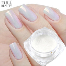 1G Mermaid Pigment Poeder Op Nagels Wit/Zilver/Goud Super Shimmer Magic Nail Glitter Laser Sneeuwvlok Manicure decoratie Chm/Dx(China)