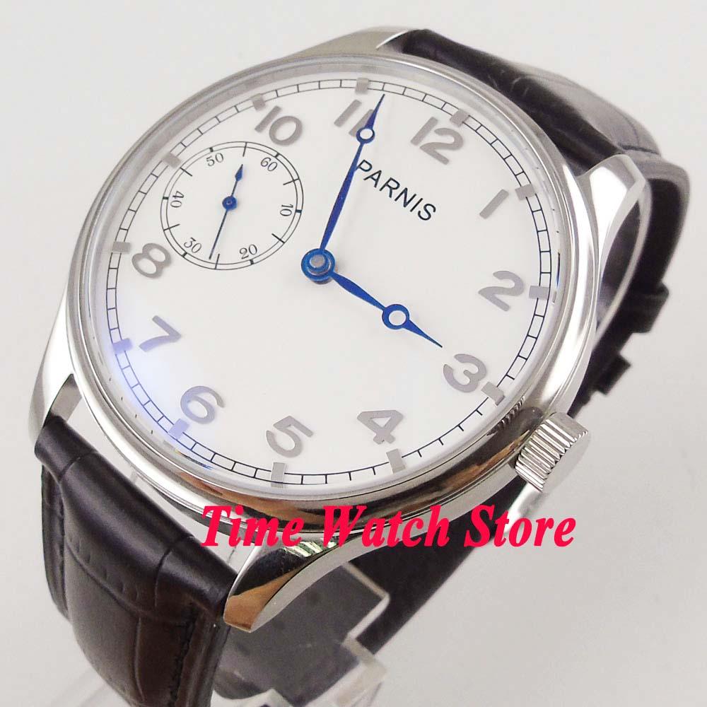 44 мм Parnis 17 jewels 6497 с ручным заводом мужские часы с белым циферблатом Синий кожаный ремешок 899