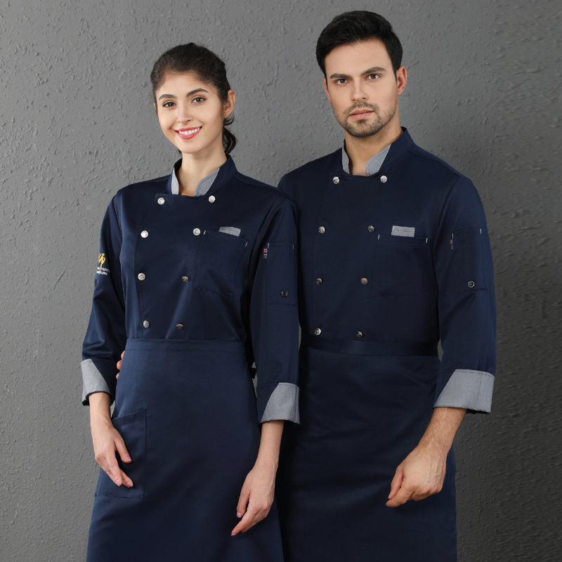 Chef Overalls Long Sleeve Jacket Hotel Kitchen Baking Catering Food Service Overalls Breathable Double Breasted Kitchen Tooling