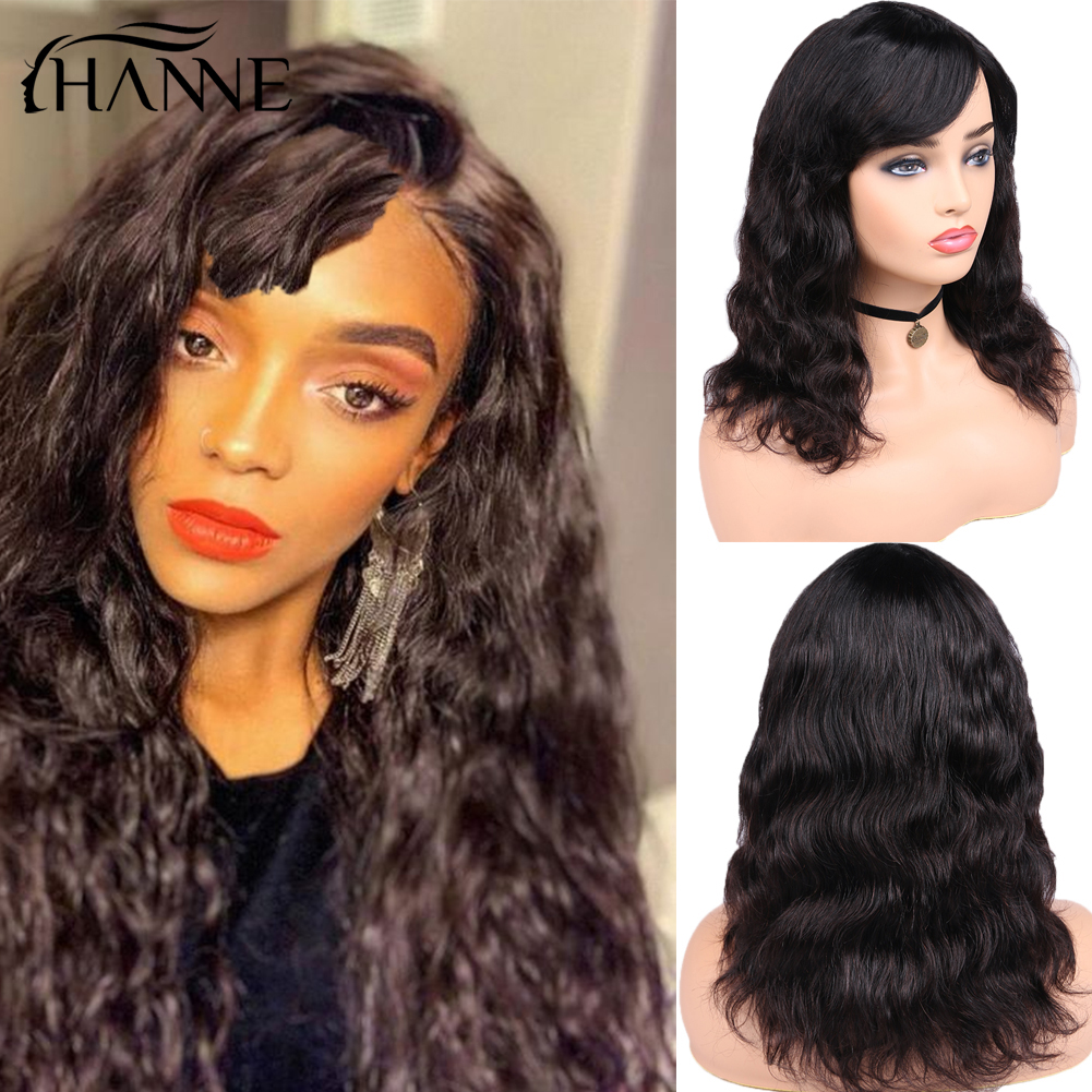 HANNE Hair Brazilian Natural Wave Remy100% Human Hair Wigs For Black Women 150% Density Hair Wig With Bangs Free Shiping & Gifts