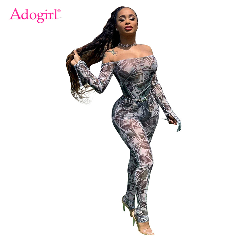 Adogirl Money Dollar Print Sheer Mesh Jumpsuit Women Sexy Off Shoulder Long Flare Sleeve Skinny Romper Night Club Overall Outfit