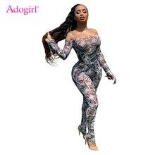 Adogirl Money Dollar Print Sheer Mesh Jumpsuit Women Sexy Off Shoulder Long Flar