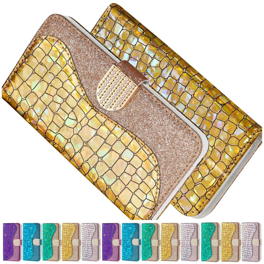 Lady Bling Crocodile Pattern Phone Wallet For Case Samsung Galaxy A50 A60 A70 S20 Ultra S20 Plus Flip Leather Splice Cover D32G image