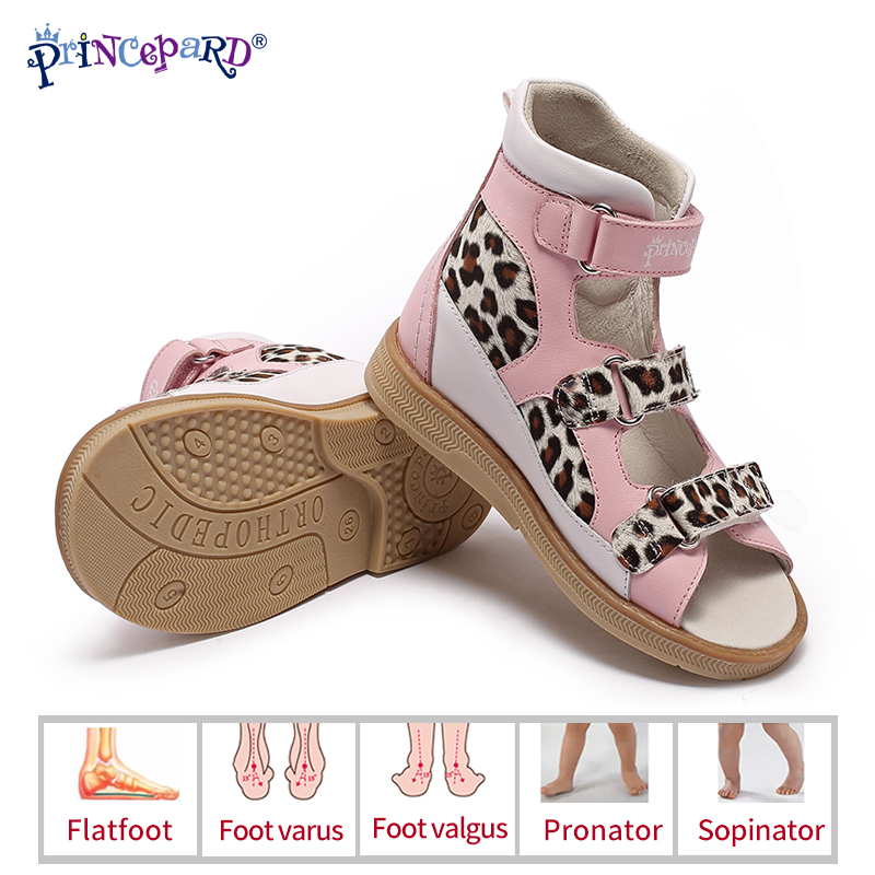 Princepard New Leopard PatternMixed Color Simple Girls Orthopedic Sandals Children Genuine Leather Shoes Kids Summer Shoes