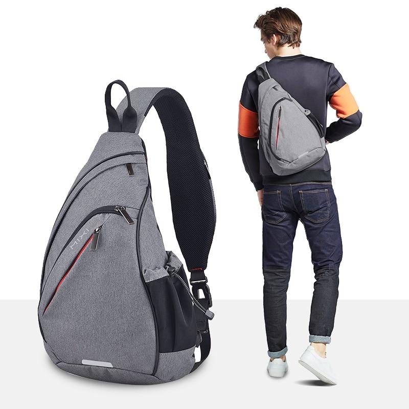 Mixi Men One Shoulder Backpack Women Sling Bag USB Boys Cycling Sports Travel Versatile Fashion Bag Student School University
