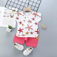 Лето 2020, детские костюмы для мальчиков и девочек, комплекты с коротким рукавом для маленьких мальчиков, комплект из двух предметов: футболка...