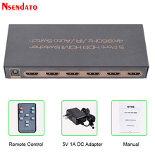 5 Port 18Gbps HDR 4K 60Hz HDMI Switch 5x1 Support HDCP 2.2 HDMI 2.0 Switcher With Auto & IR Remote Control For PS4 Monitor TV PC