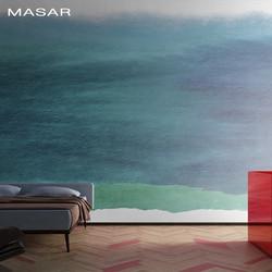 MASAR Creatieve abstracte blauwe zee muurschildering woonkamer woonkamer eetkamer achtergrond muur behang rustige