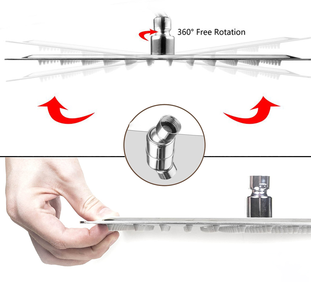 H9bada39db58c43f8930eba4a6afe8c15c Rozin Wall Mount Rainfall Shower Faucet Set Chrome Concealed Bathroom Faucets System 16'' Head with Swivel Tub Spout Mixer Tap