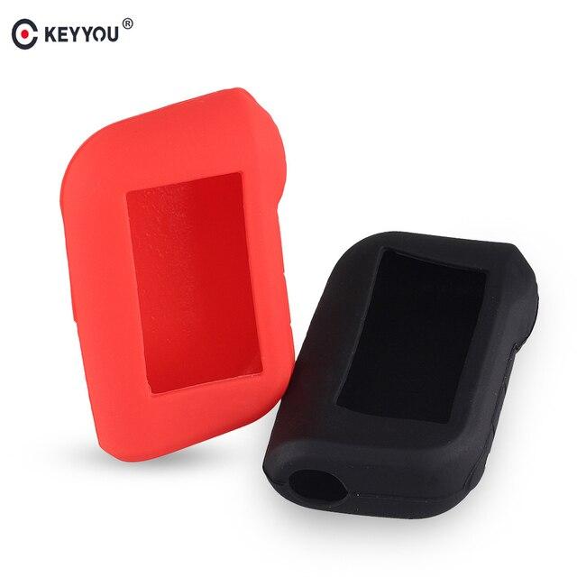 KEYYOU A93 المفاتيح غطاء سيليكون حافظة مفاتيح المحافظ ل Starline A93 اتجاهين إنذار سيارة تحكم عن بعد A63 LCD الارسال