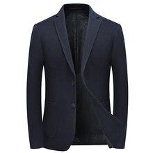 Мужской твидовый пиджак с английским воротником темно синий