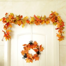 70 дюймов искусственные кленовые листья ротанга DIY Висячие виноградные лозы растения венок гирлянда для внутреннего использования на открытом воздухе Осень Урожай День благодарения Свадьба