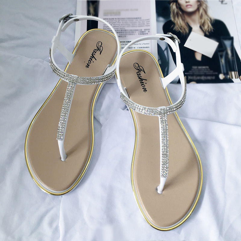 New Women's Flat Sandals Bling Clip T-type Fashion Casual Shoes Women Buckle Beach Ladies Thong Shoe Female Summer 2020