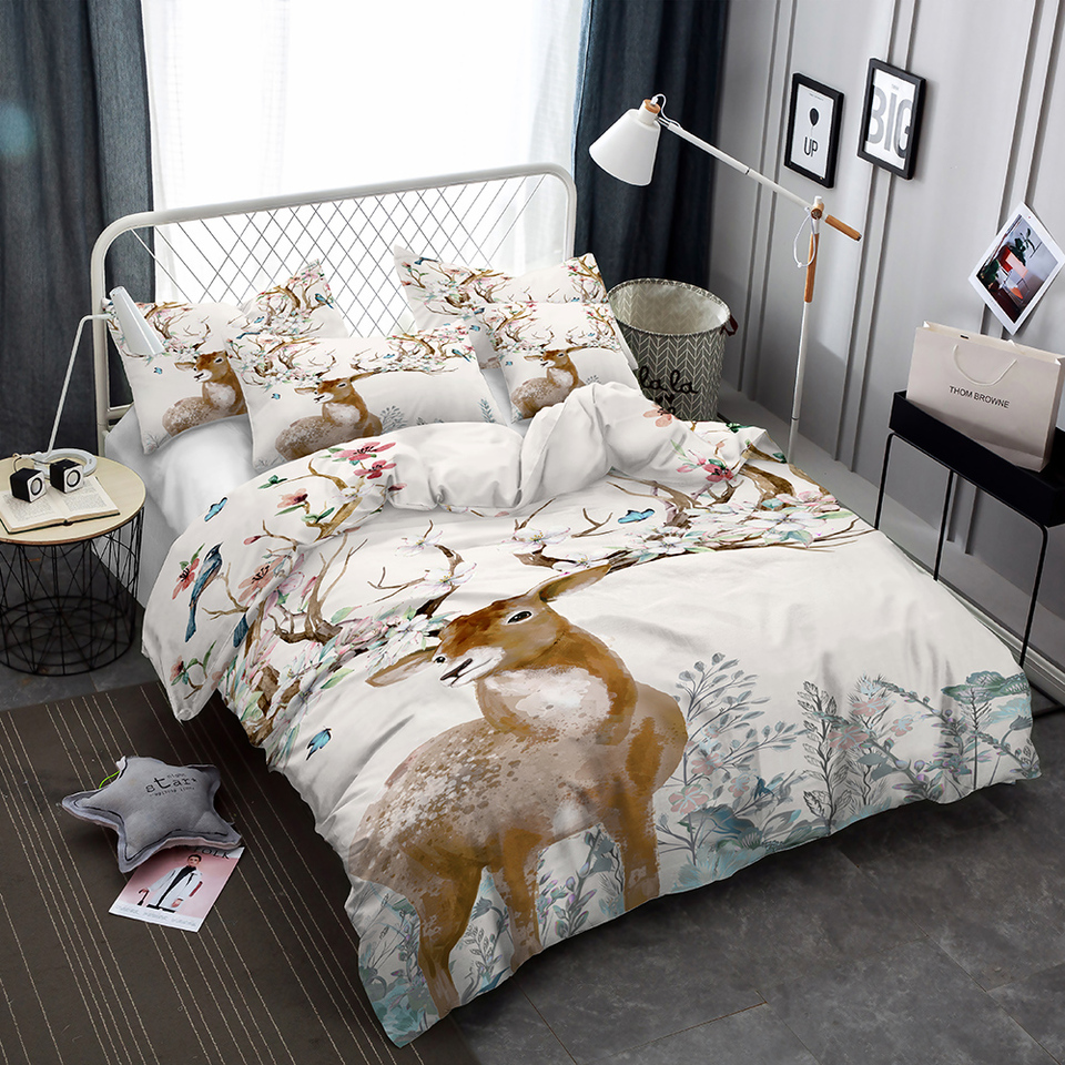 Deer Antlers Tree Floral Bedding Set Doona Bedroom Decor Quilt Cover White Comforter Cover 1pc Duvet Cover Pillowcase Dropship Bedding Sets Aliexpress