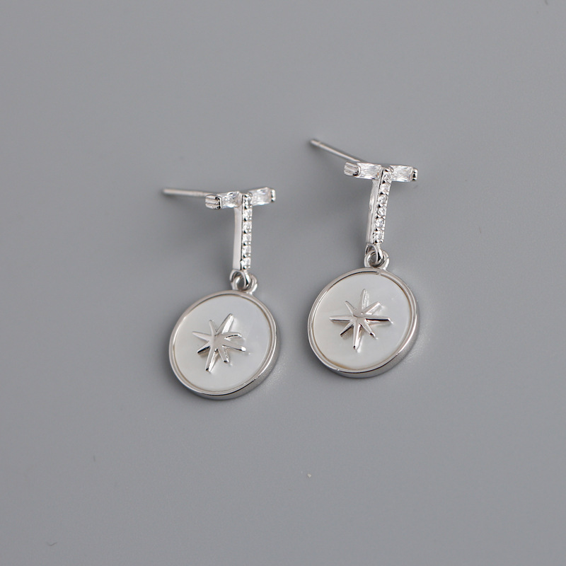 925 Sterling Silver Simple Six-pointed Star Carved Round Pendant Earrings Women Light Luxury Palace Banquet Jewelry Accessories