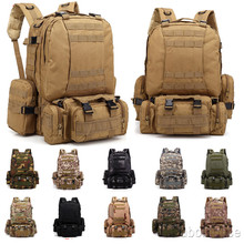 3l 6l outdoor climbing bags military tactical backpacks waterproof oxford molle camping pack hiking waist bags mochila militar 4 In 1 Combo Military Waterproof Backpack Molle Tactical Camo Backpacks Outdoor Sport Climbing Bag Hiking Camping Removable Bags