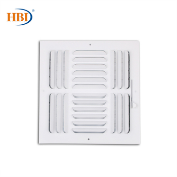 HBI 4-Way W10 x H10 Curved-Blade Ventilation Grille Air Outlet Valve Air Supply Register Air Vent Cover Steel Ceiling/Sidewall curved air curved air airborne cd digisleeve