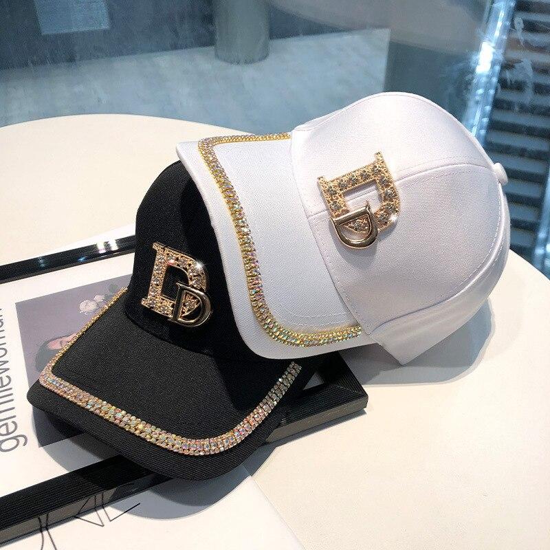 2021 New Letter D Baseball Caps Rhinestone Hat Cotton K Kop Cap Hip Hop Cap Hats for Women Snap Back bone