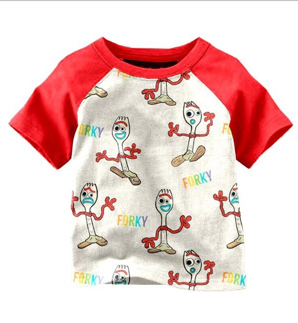 Top Short-Sleeve Kids Summer Print-Design Boy Red Fashionable