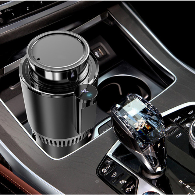12V Car Cooling Cup 2-in-1 Car Office Cup Warmer Cooler Smart Digital Display Car Mug Holder Tumbler Beverage Drinks Can Summer 1