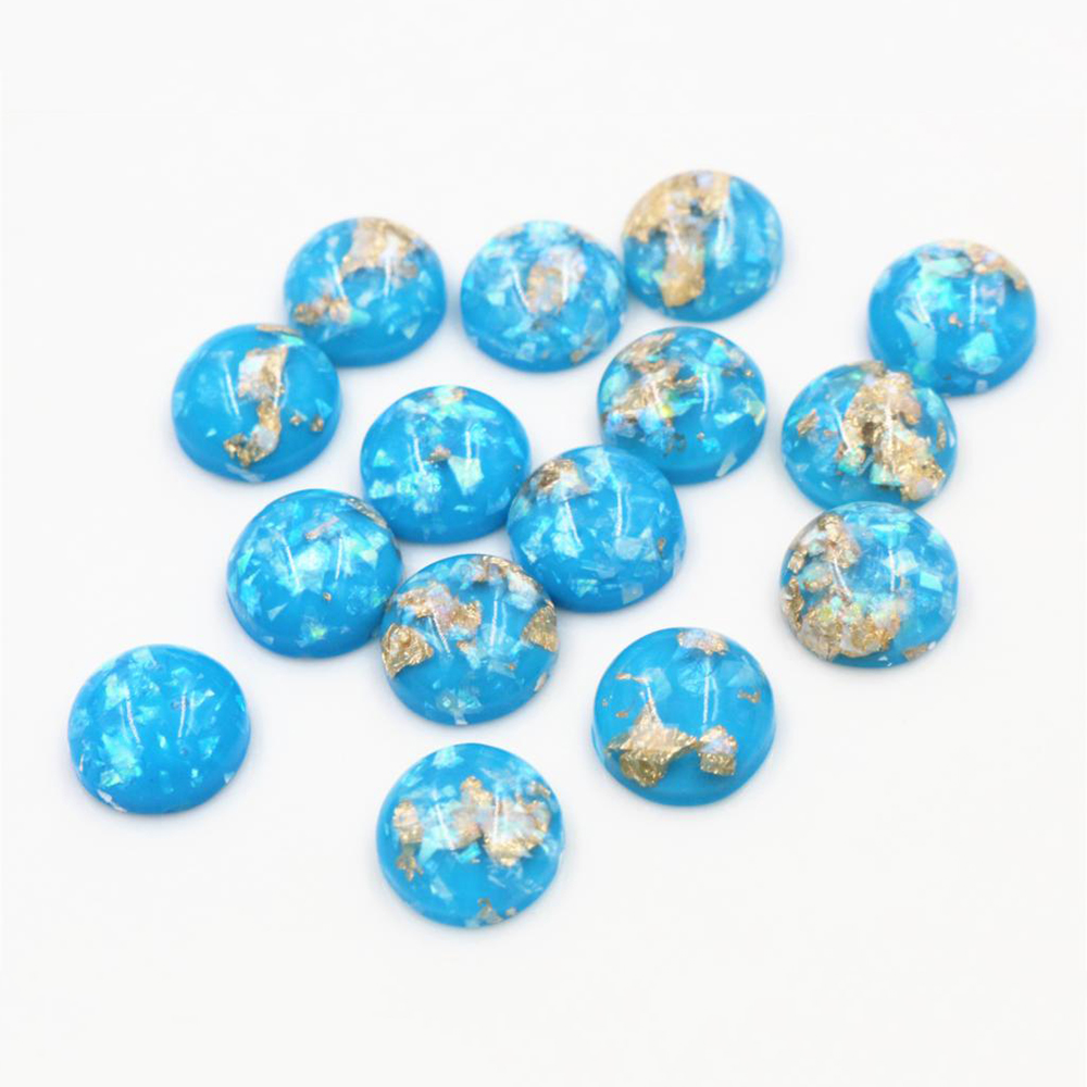 New Fashion 40pcs 12mm Sky Blue Colors Built-in Metal Foil Flat Back Resin Cabochons Cameo-Z5-25