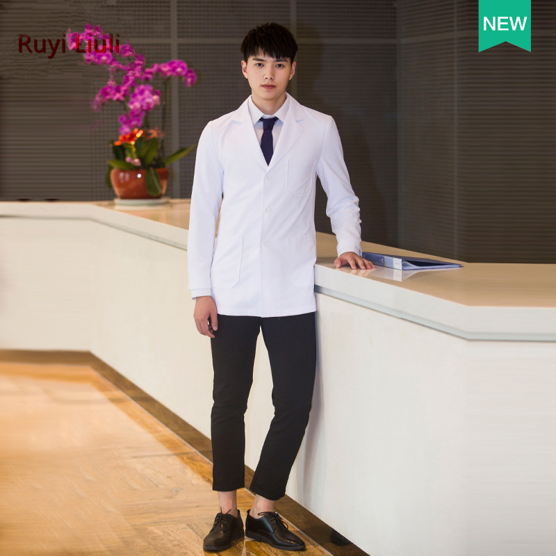New fashionable slim men doctors wear white coats and long sleeves plastic surgeon doctor uniform image