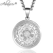 Abaicer selos dos sete arcanjos pingente gargantilha instrução prata colar de aço inoxidável para mulher vestido acessórios