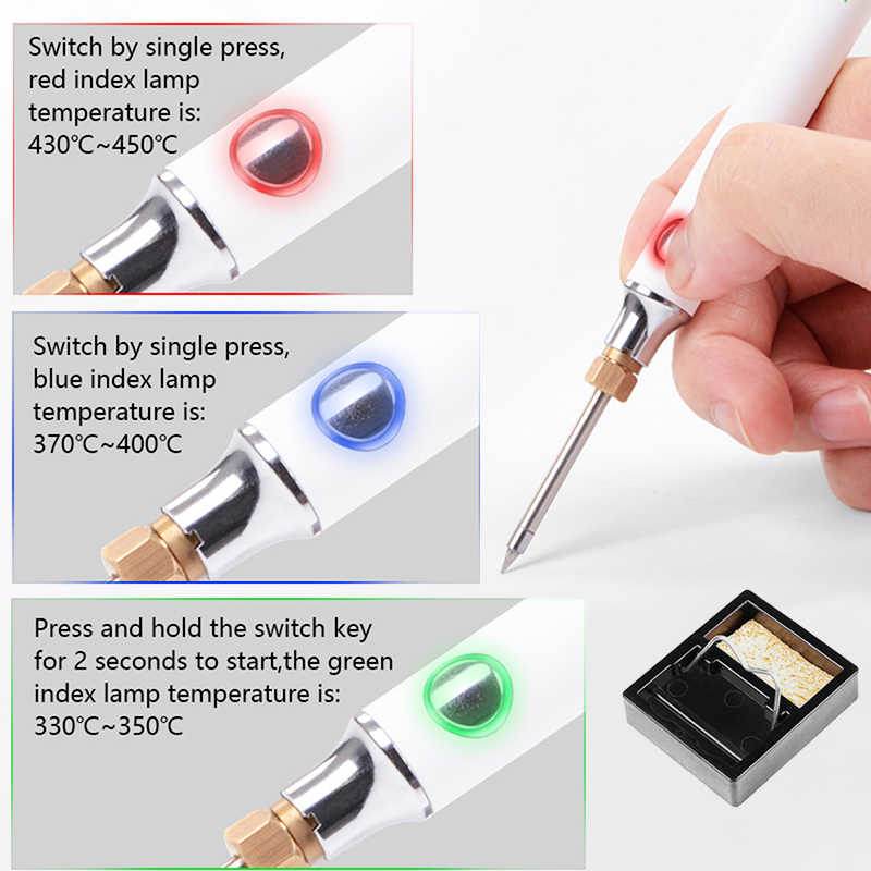 KKmoon Charging Soldering Iron 5V 8W USB Adjustable Electric Temperature Soldering Iron Set with Soldering Stand Soldering Wire