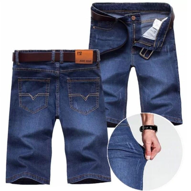 Elastic Denim Shorts Ultra-Thin Elasticity Knee-length Denim Shorts Men'S Wear Loose Straight Cowboy Shorts Lard-bucket Shorts M