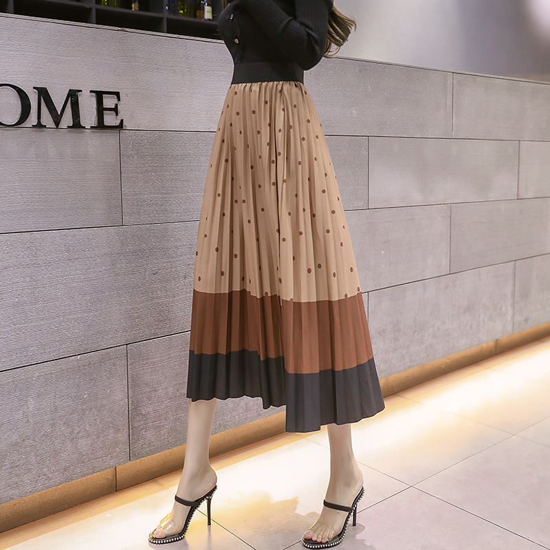 2020 Spring Autumn Fashion Printed Velvet Midi Skirt Female Elastic High Waist Skirt Big Swing Slim Long Womens Skirts Female
