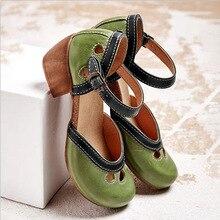 Sandalias Retro para mujer, correas de hebilla de tobillo informales para mujer, zapatos de tacón para mujer, zapatos Vintage de verano para mujer, Size35-43