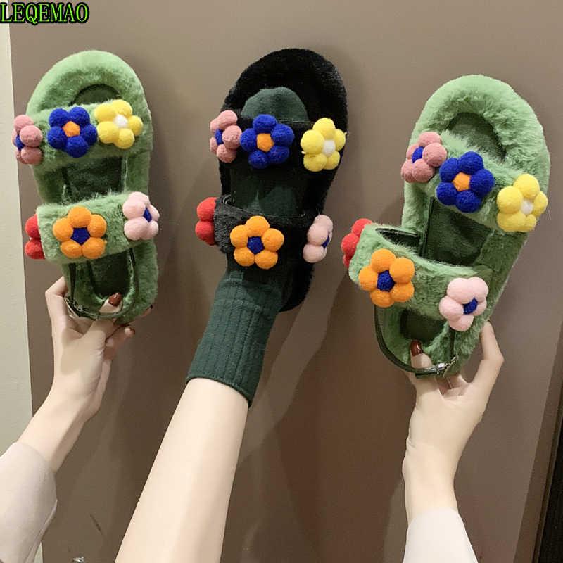 Puszyste domowe kapcie kobiety zimowe kwiat slajdy ciepłe klapki buty wewnętrzne płaskie Pantoffels Dames 2019 Chanclas Mujer