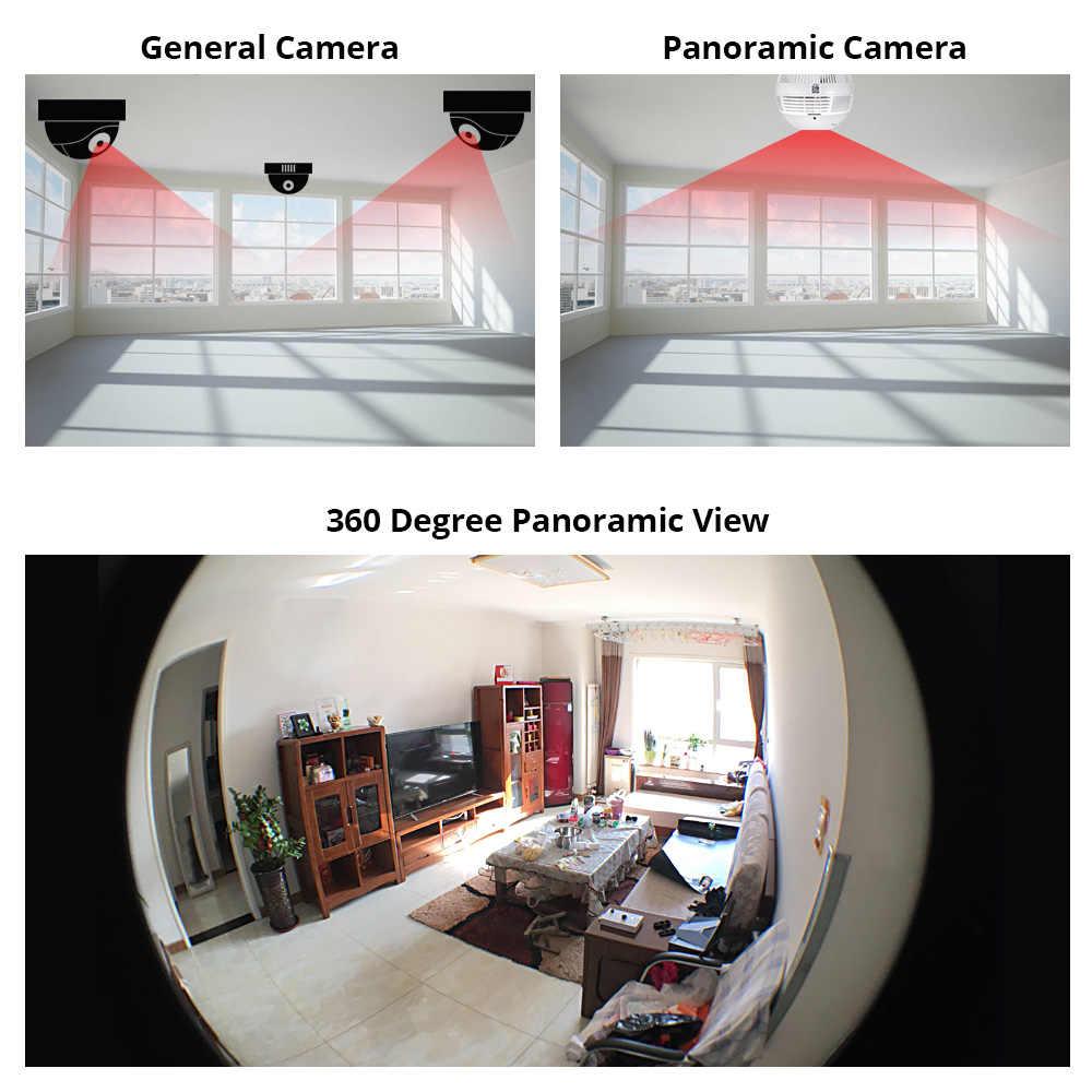 مصباح ليد 960P لاسلكي بانورامي أمن الوطن واي فاي CCTV فيش لمبة مصباح IP كاميرا 360 درجة أمن الوطن لص