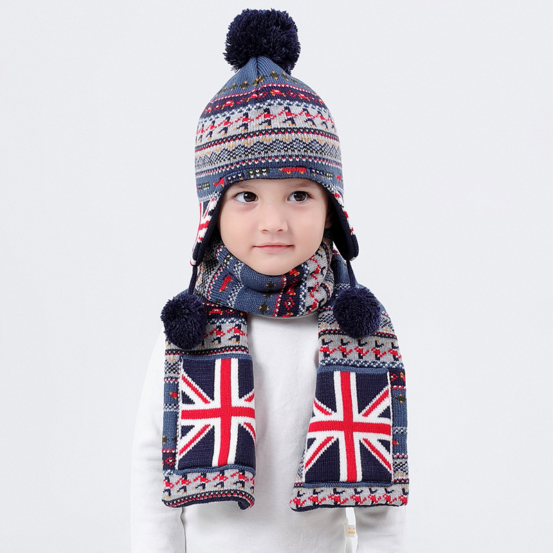 Hat Scarf Set Kid Boy Winter Fleece Lining Beanie Warm Head Skiing Outdoor Accessory For Baby