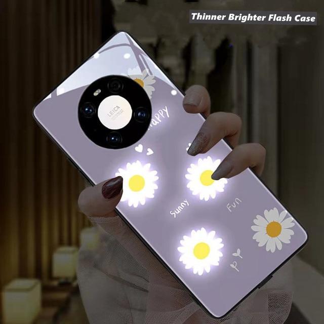 Purple Daisy LED Glow Phone Case for Huawei P20 P30 P40 Pro Mate 20 30 40 Plus Nova 6 5G Honor 20 pro Luminous Glasses Cover