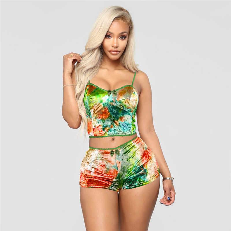 Vrouwen Tie-Dye Pyjama Set Spaghettibandjes Crop Top Elastische Taille Shorts 2 Stuk Casual Fluwelen Nachtkleding Sexy Outfit