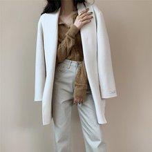 Женское шерстяное пальто Осень зима минимализм v образный вырез
