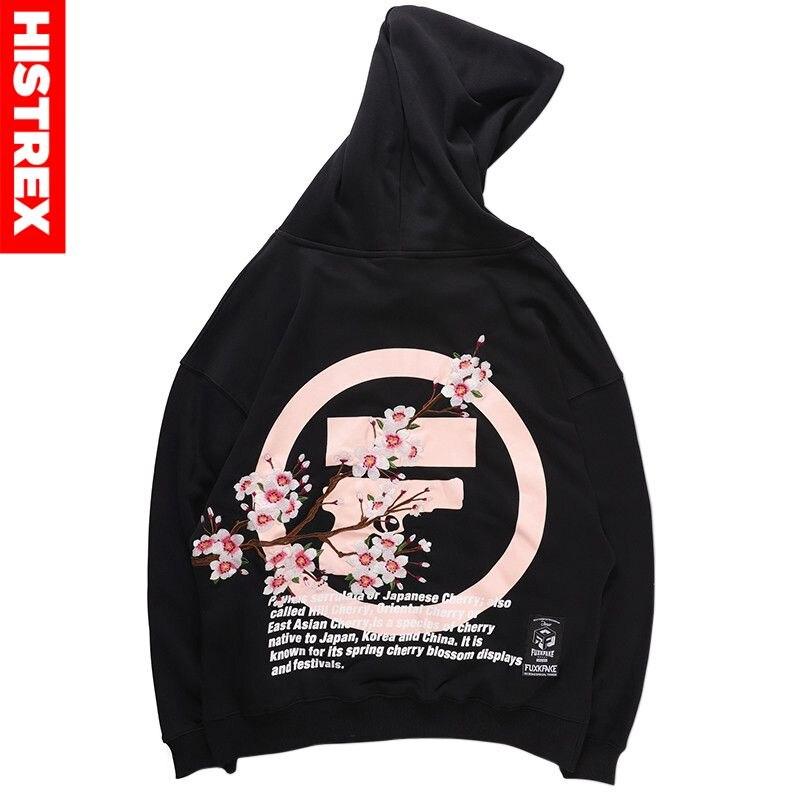 Herren Hip Hop Hoodie Sweatshirt Stickerei Sakura Japanischen Streetwear Harajuku Hoodies Pullover 2020 Herbst Sweat Shirts Baumwolle