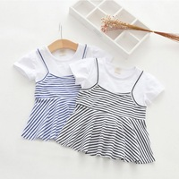Fashion Baby Girl Clothing 0 3Y Casual Toddler Newborn Baby Girls Dress Plaid Fake Two Piece Party Birthday Dress For Girls