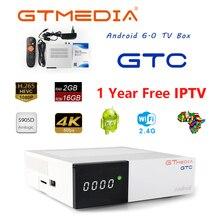 цена на GTmedia GTC Receptor Android 6.0 TV BOX DVB-S2 DVB-C DVB-T2 Amlogic S905D 2GB 16GB +1 Year Clines Satellite TV Receiver TV Box
