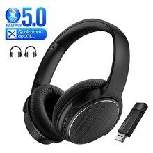 Aptx baixa latência sem fio 5.0 fone de ouvido para jogos + usb bluetooth áudio transmissor fone de ouvido de redução de ruído para tv ps4 pc