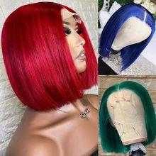 Vermelho curto bob peruca frente do laço perucas de cabelo humano azul escuro perucas brasileiras preplucked 150% remy verde perucas de cabelo humano para mulher