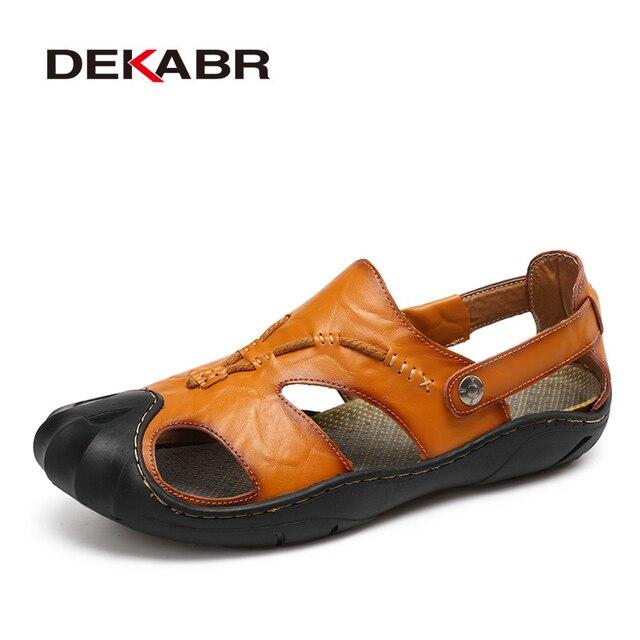 DEKABR Mới Nam Nam Da Thật Chính Hãng Giày Sandal Nam Mùa Hè Nhân Quả Giày Đi Biển cho Người Đàn Ông Thời Trang Ngoài Trời Đế Mềm