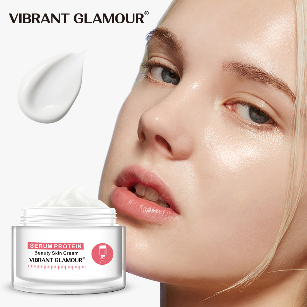 VIBRANT GLAMOUR Serum Protein Face Cream Repair Anti-Wrinkle Reduce Red Blood Anti-allergy Aloe Hydration Moisturizing Skin Care