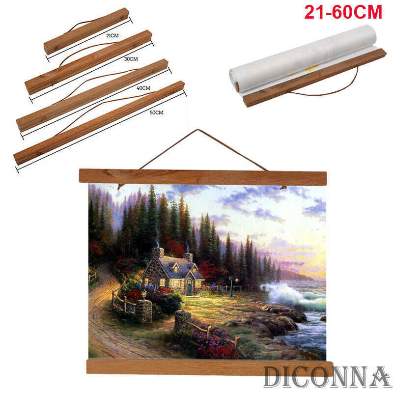21/30/40/50/70cm New Teak Wood Magnetic Wooden Photo Frame DIY Poster Scroll Print Artwork Hanger 2019