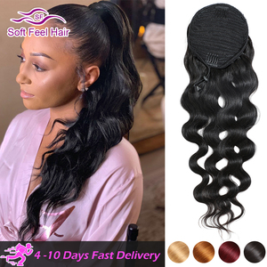 Drawstring Ponytail Human Hair Extensions Remy Clip In Wrap Around Brazilian Body Wave Ponytail For Black Women Soft Feel Hair