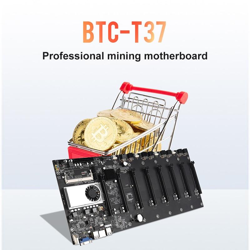 BTC-T37 Mining Motherboard VGA 8PCIE 16X 8GPU Video Card Support 1066/1333/1600MHz DDR3/DDR3L BTC-T37 Mining Motherboard 1