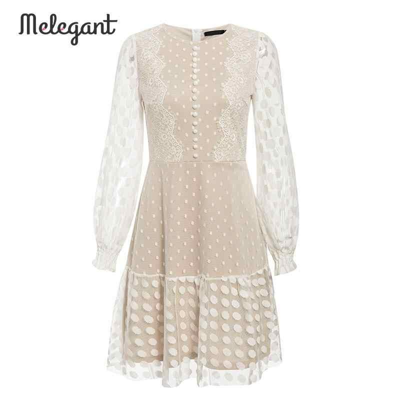 Melegant Sexy Winter Mesh koronkowe sukienki damskie Party hafty kobiece Vintage Polka Dot krótka sukienka Plus rozmiar sukienki Vestidos